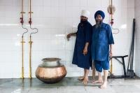 kuchnia,-kucharz,-Sikh,-świątynia,-Indie,-Delii,-