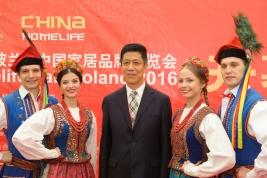 Ambasador Chin Xu Jian podczas otwarcia targów China Homelife and Machinery w Nadarzynie 2016/06/07.